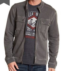 Lucky Brand Cafe Racer Zip Up Sweater distressed L